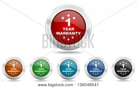 warranty guarantee 1 year round glossy icon set, colored circle metallic design internet buttons