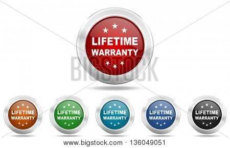 lifetime warranty round glossy icon set, colored circle metallic design internet buttons
