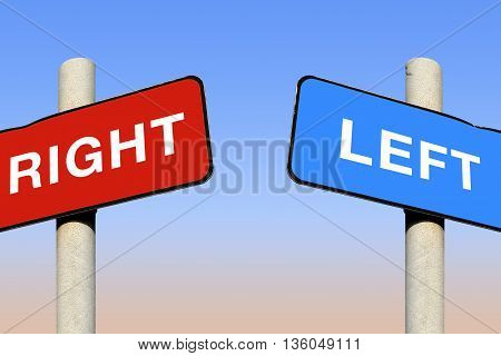Political left and right signs against a blue sky