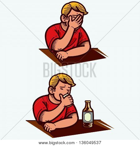 Vector illustration of a man getting frustrated