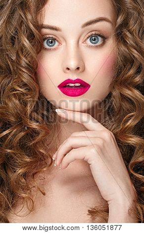 Curly Hair Woman Portrait Long Hair With Perfect Make Up Red Lips.