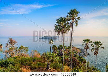 Phromthep cape viewpoint with blue sky in PhuketThailand