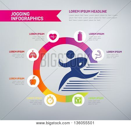 Jogging infographics with icons - benefits of jogging in a diagram. Health improvements, muscle strength, mental health, weight loss.