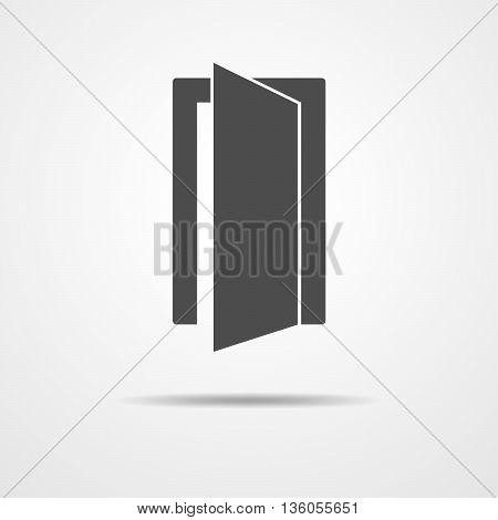 Door icon - vector illustration. Simple open door symbol. Gray door sign.