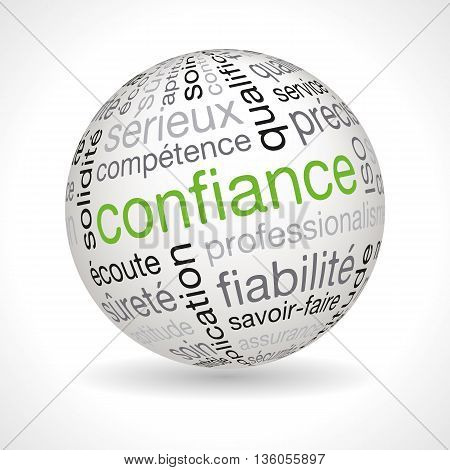 French trust theme sphere with keywords full vector