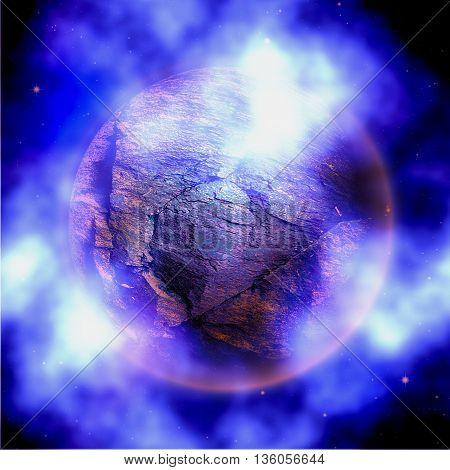 Abstract stone planet with blue and white clouds. Unknown celestial body with nebula on a black background