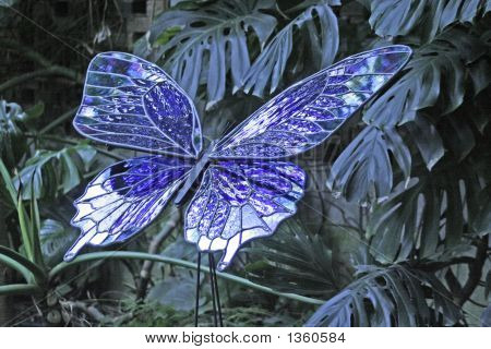 Blue Stained Glass Butterfly