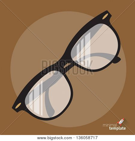 Flat design vector glasses icon. Search, read more and education icon for application and web design. Vintage retro hipster glass frame interface icon mock up for reading, education and search engine.