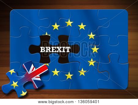 Brexit - Puzzle flag of the European Union on wooden background. Illustration