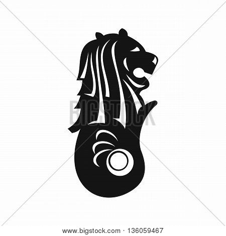 Merlion statue, Singapore icon in simple style isolated on white background