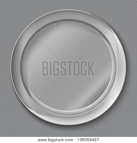 Vector Illustration Of Empty Silver Plate.