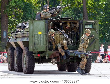 BURG / GERMANY - JUNE 25 2016: german military armoured personnel carrier Fuchs