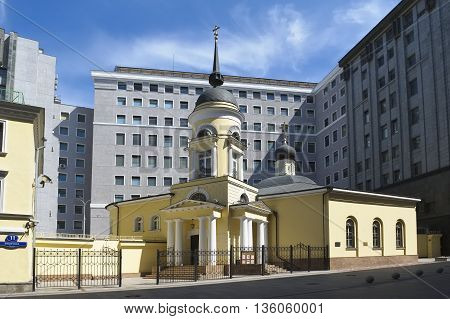 MOSCOW, RUSSIA - MAY 31, 2016: The Church of the Divine Wisdom Sophia at cannon yard Pushechnaya Street (until 1922 - Sofiyka)