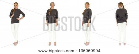 Blonde Plus Size Woman,  Posing In Pants For A Fashion Editorial