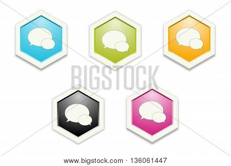 the illustration of hexagon shape with speech bubbles pictogram