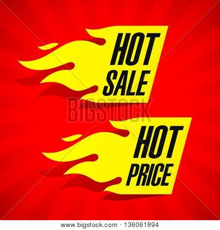 Hot Sale and Hot Price labels vector illustration