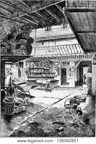 L'Hotellerie in Calvados, Basse-Normandie, France. Vintage engraving.
