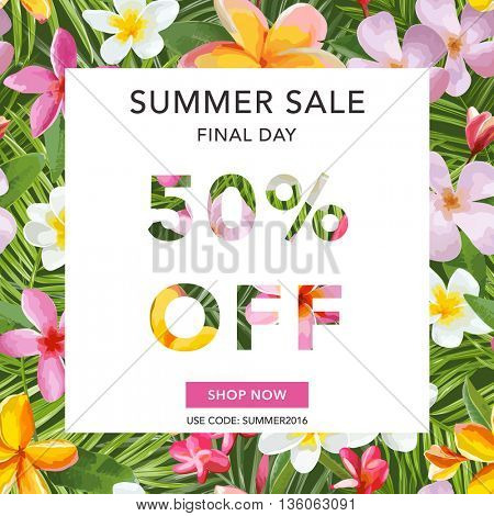 Summer Sale Banner. Sale Background. Tropical Background. Tropical Sale Poster. Vector Illustration. 50 % off