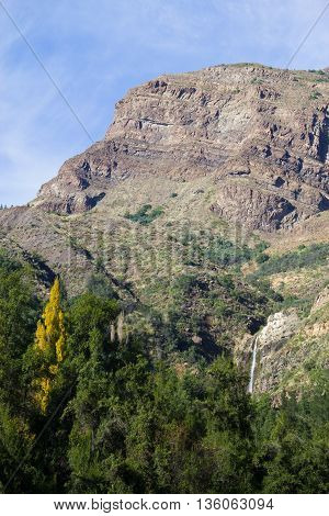 Waterfall At San Alfonso Valley, Trail In The  Mountain