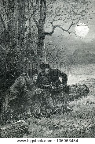 Two men talking about life. From Jules Verne Cesar Cascabel, vintage engraving, 1890.