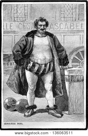 A portrait of Cesar Cascabel. Photo by George Roux. From Jules Verne Cesar Cascabel, vintage engraving, 1890.
