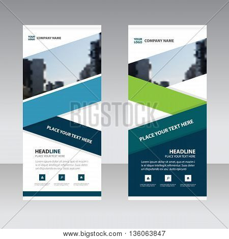 Blue green Business Roll Up Banner flat design template Abstract Geometric banner template Vector illustration set abstract presentation template