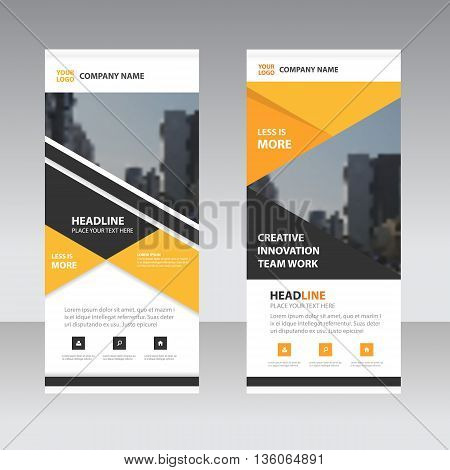 Yellow black triangle Business Roll Up Banner flat design template Abstract Geometric banner template Vector illustration set abstract presentation template