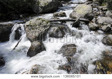 A swift and clod mountain creek full of heavy rocks.