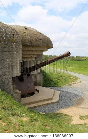 A gun emplacement on the Atlantic Wall the German forces in Normandy