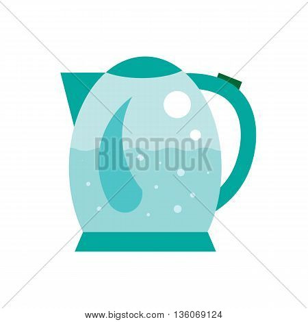 Boiling water in Electric kettle illustration. Hot teapot with air bubbles flat icon. Isolated round kettle on white background.
