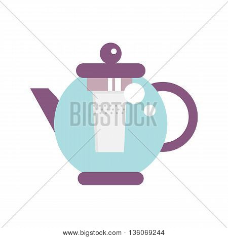 Modern Glass Teapot with Infuser. Tea, coffee kettle illustration. Hot teapot flat icon. Isolated straight lines kettle on white background.