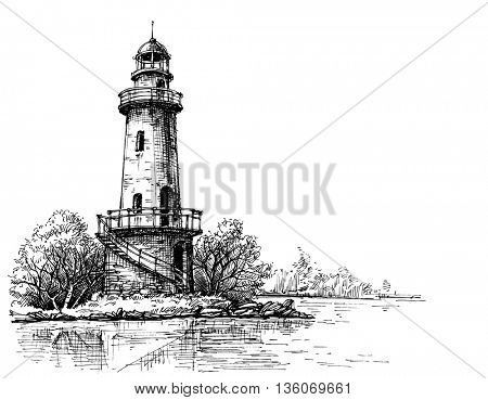 Lighthouse pencil drawing. Etch style poster