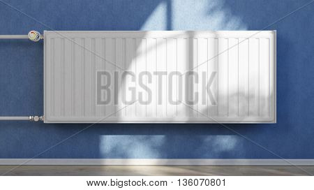Central heating system with radiator on a blue wall (3D Rendering)