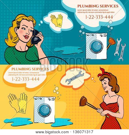 Plumber banners woman calling plumber broken washing machine leak in the bathroom plumbing service pop art style vector illustration