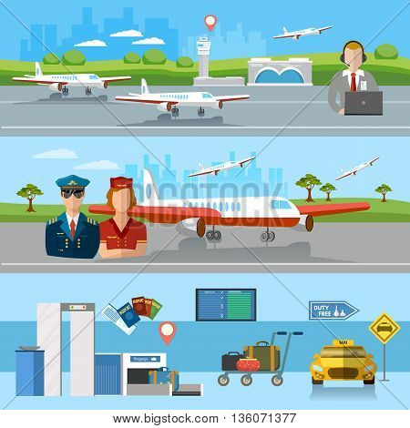 Airport banner airport terminal aircraft runway airline pilot stewardess baggage inspection scanner international airlines vector illustration