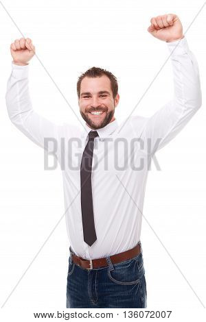 Happy Businessman With Arms Up Isolated On A White Background