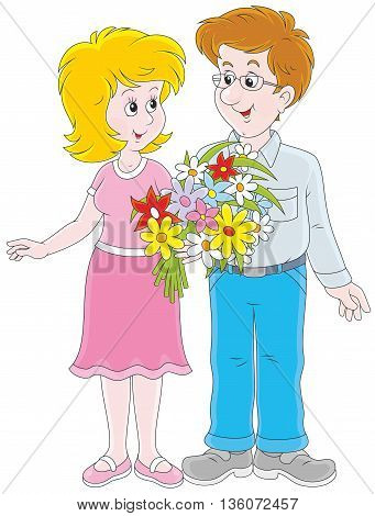 Loving couple. Vector illustration of a smiling young man and a young woman holding a bouquet of flowers, on a white background