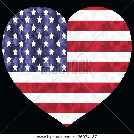 American flag in  low poly art  design with in the hearts shape symbol of  4th of July Americanism Independence day celebration