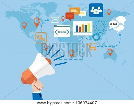 A men's hand holding a megaphone; Marketing online concept
