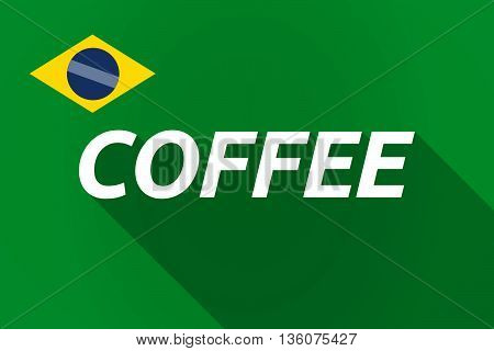 Long Shadow Brazil Flag With    The Text Coffee