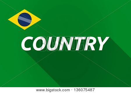 Long Shadow Brazil Flag With    The Text Country