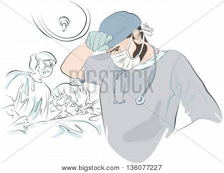 surgeon in the mask and uniform wipes his forehead after surgery tired. In the background, a sketch of the operation. The doctor finished the operation