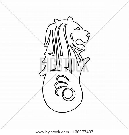 Merlion statue, Singapore icon in outline style isolated on white background