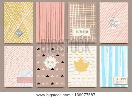 Set of Isolated creative template vector cards. Hand drawn line backgrounds. Vector banners for card, poster, invitation, flyer, party, wedding, brochure. Nice design collection