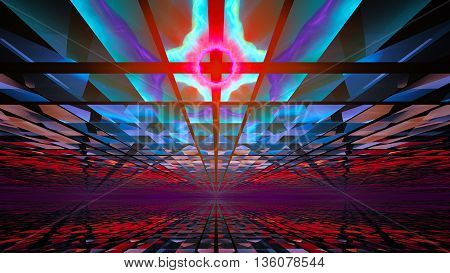Cosmic Horizons apocalypse. Bright and dark sky. 3D illustration. Sacred geometry. Mysterious psychedelic relaxation pattern. Fractal abstract texture. Digital graphic design astrology alchemy magic.