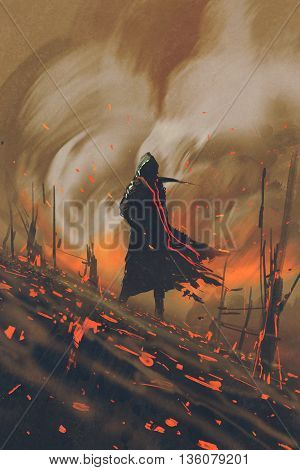 wizard in black cloak standing against burning forest, illustration painting