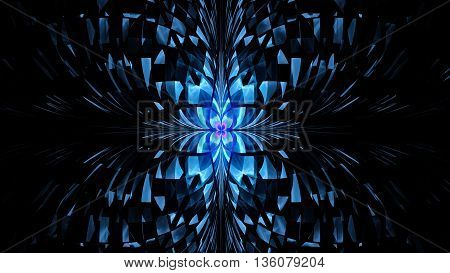 Pattern of butterfly. Millions of broken fragments. 3D illustration. Sacred geometry. Mysterious psychedelic relaxation pattern. Fractal abstract texture. Digital design astrology alchemy magic.