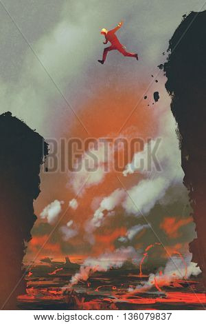 man jumping on the cliff against lava landscape background, illustration painting