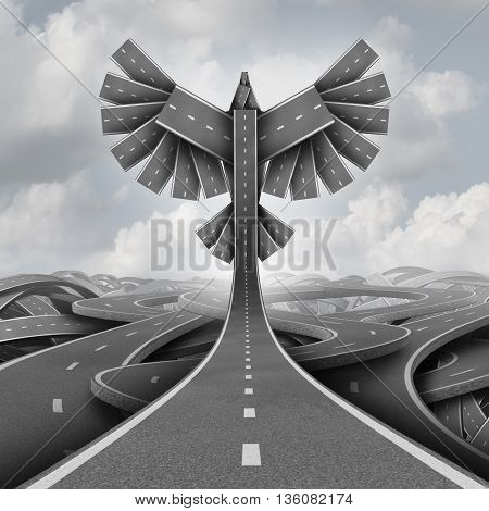 Road freedom concept as a group of highway paths grouped together shaped as flying bird wings as a business or life motivation success symbol of ascending upward breaking out of confusion towards opportunity as a 3D illustration.