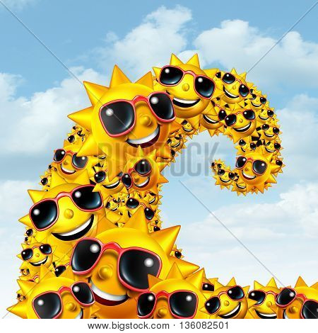 Heat wave concept as a group of sun characters shaped as an ocean wave as a record breaking extreme hot weather concept during summer season as a 3D illustration.